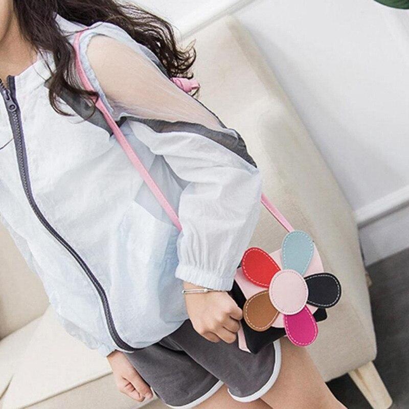 New PU Leather Coin Bag Women Creative Mini Messenger Bag Children Princess Petal Lovely Purses Kids Girl Fashion School Bag
