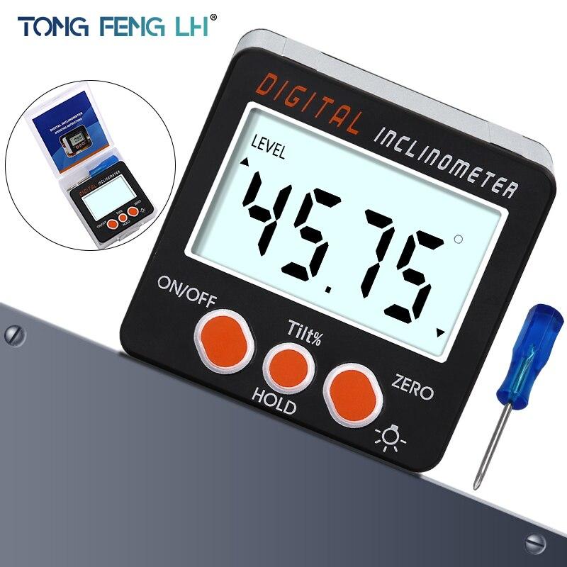 Inclinômetro Transferidor eletrônico Digital 0-360 Liga De Alumínio Caixa de Bisel Digitais Ímãs Base de Ângulo Bitola Métrica ferramenta de Medição