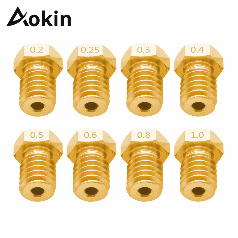 Aokin Extruder Nozzle For 3D Printer For E3D V5 V6 M6 Threaded Nozzle 0.25 0.3 0.4 0.5 0.6 0.8 1.0mm For 1.75mm 3.0mm Filament