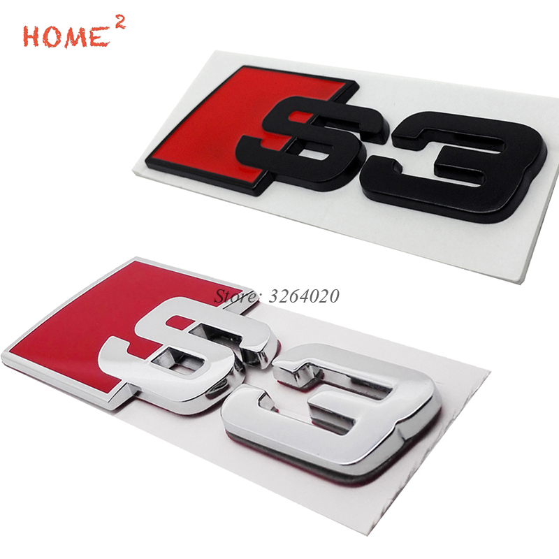 Car Sticker for S3 Logo Metal Rear Trunk Badge Decals Auto Body Emblem Accessories for Audi S Line Sline S3 S4 S5 S6 quattro A3