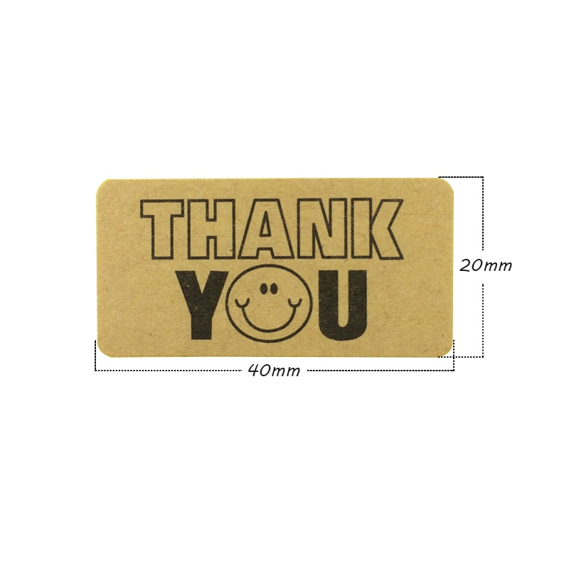 Купить с кэшбэком 120pcs/lot stickers Thank You With Smile Face Kraft Paper Labels Sticker Gift Package Wedding Decoration Stickers Scrapbooking