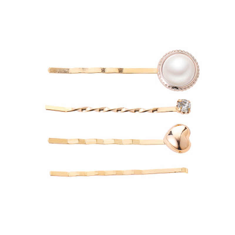 4PCS/set Korea Women Vintage Metal Imitiation Geometric Pearl Hairpins Flower Shape Hair Clips Gold Crystal Hair Accessories