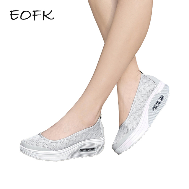 EOFK Yaz Kadın platform ayakkabılar Kadın Düz rahat ayakkabılar Bayan Kayma Örgü Konfor Gri Kumaş Ayakkabı dames schoenen