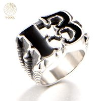 VCOOL Punk Rock Titanium Mens Biker Rings Number 13 Vintage Neo Gothic Jewelry Hip Hop Skull