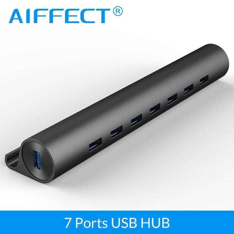 AIFFECT USB 3.0 HUB High Speed 5 Gbps Aluminum 7 Ports USB 3