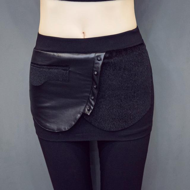 Novas Mulheres Casual Básico Outono Inverno Longo lápis leggings PU Calças Stretch Patchwork Perna Da Calça calças hip Pacote Plus Size