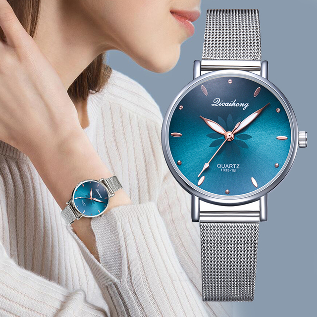 Women's Wristwatches Luxury Silver Popular Pink Dial Flowers Metal Ladies Bracelet Quartz Clock Fashion Wrist Watch 2019 Top 2