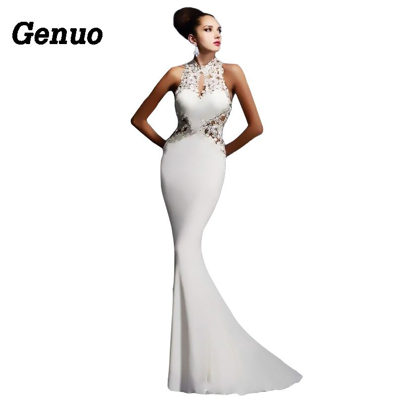 Genuo Sexy Party Dress Women Vintage Lace Hollow Out Patchwork Evening Maxi Dress Applique Stitching Sleeveless Long Dress in Dresses from Women 39 s Clothing
