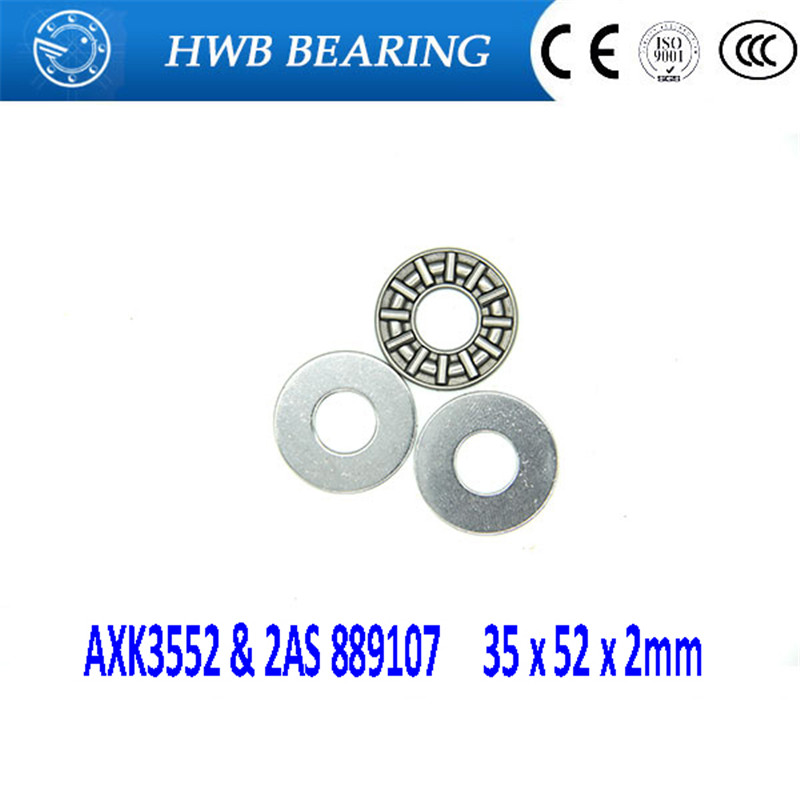 5Pcs AXK3552 & 2AS 889107 Thrust Needle Roller Bearing & Washers 35 x 52 x 2mm Free shipping High Quality na4910 heavy duty needle roller bearing entity needle bearing with inner ring 4524910 size 50 72 22