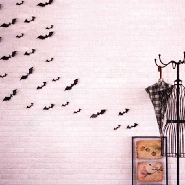 Imixlot 12pcs Black Party Decoration Diy Pvc Paper Bat Wall Stickers Ghost Scene Layout Supplies