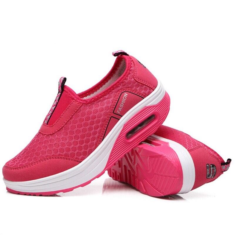 ФОТО Women Shoes Casual Summer Fashion Ladies Breathable Beach Mesh Walking Shoes Platform chaussure femme Tenis Feminino