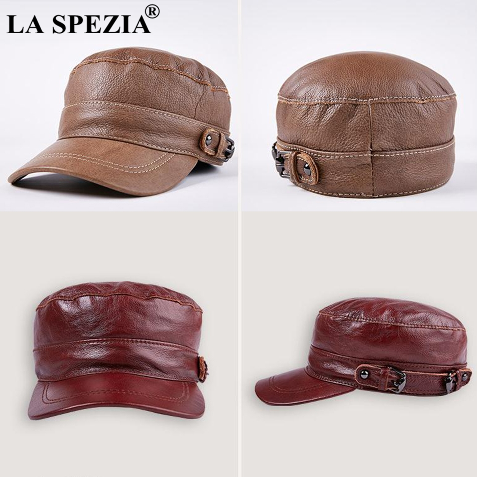4ed2d0d6ef5 Product Name  LA SPEZIA Brown Hat military Style Men Genuine Leather Casual  Army Hat Male Winter Adjustable Duckbill Caps Classic Flat Top Cap