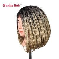 Eunice Bob Wig Włosów 14-32 cal Okno Oplot z Dzieckiem Pleciony włosów Syntetyczne Koronki Przodu Peruk two tone Ombre blond/fioletowy plecionki