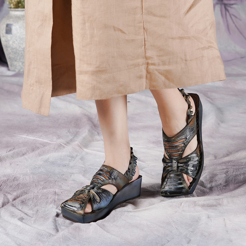 JELLYFOND Vintage Genuine Leather Summer Shoes Women Platform Sandals Wedges High Heel Gladiator Ladies Sandals Handmade ShoesJELLYFOND Vintage Genuine Leather Summer Shoes Women Platform Sandals Wedges High Heel Gladiator Ladies Sandals Handmade Shoes