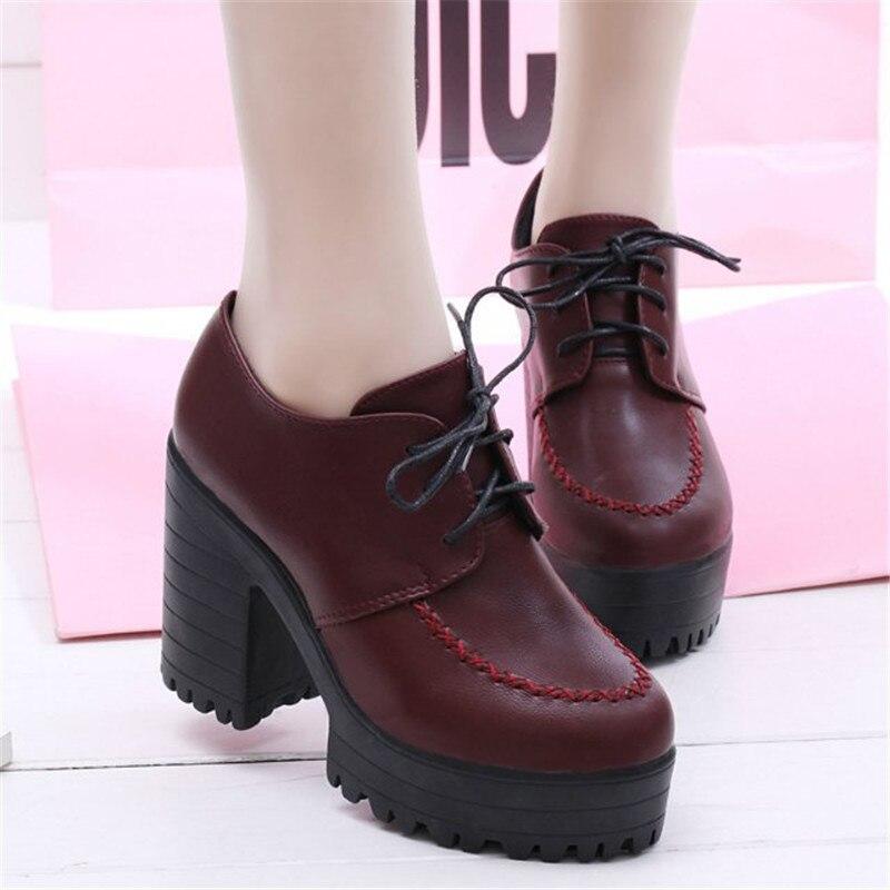 091a4f27 La Y Zapatos Del Botas Plataforma Negro De Mujer Cordones Tacón Otoño Alto  rojo Nueva 40 Primavera Tobillo Negro 35 Tamaño ...
