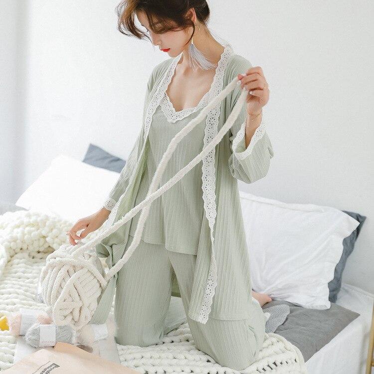 Image 3 - Lisacmvpnel Autumn 3 Pcs Cotton Lace Sexy Woman Pajamas Nightdress+Cardigan+Long Pant Set Female Pijama-in Pajama Sets from Underwear & Sleepwears