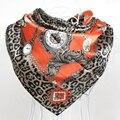 New Arrival 90*90cm Square Scarves Hot Sale Orange Satin Women Silk Scarves Printed Ladies Leopard Print Big Square Scarf