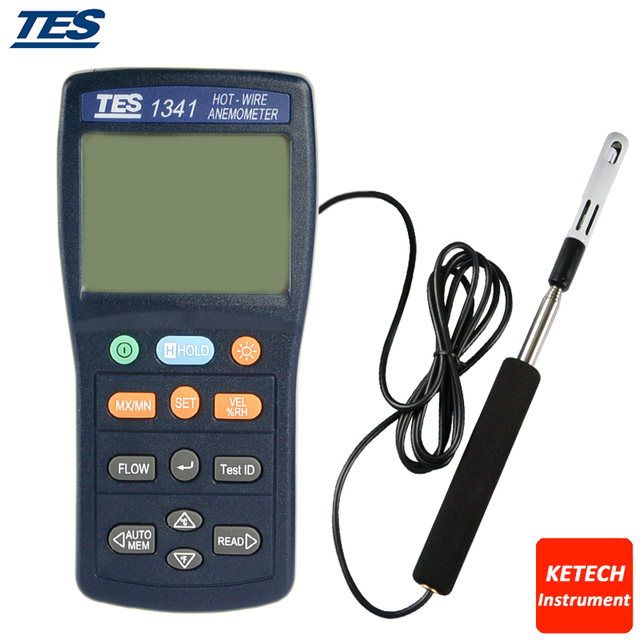 Hot-Wire Anemometer Air Flow Volume Tester ,0.1 to 30.0 m/s TES1341