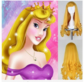 Top Quality !  Free Shipping Sleeping Beauty Princess Aurora Wig Long Curly Golden Anime Cosplay Wig / Wigs exported to Europe