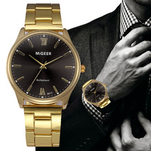 Watches for Men Fashion Crystal Stainless Steel Analog Quart