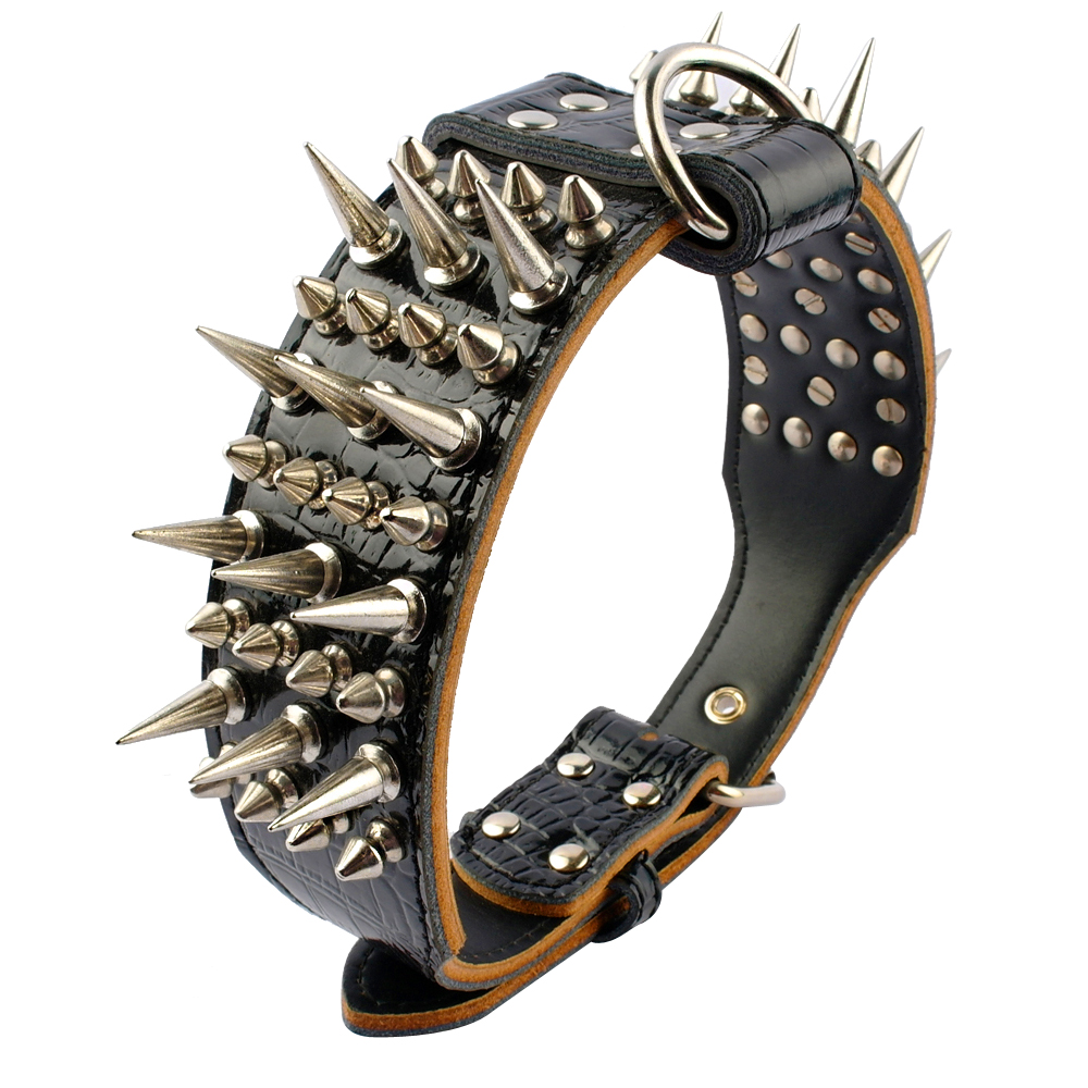 2inch Wide Cool Sharp Spiked Studded Leather Dog Collars For Medium Large Dogs Pitbull Bulldog Rottweiler German Shepherd M-XL
