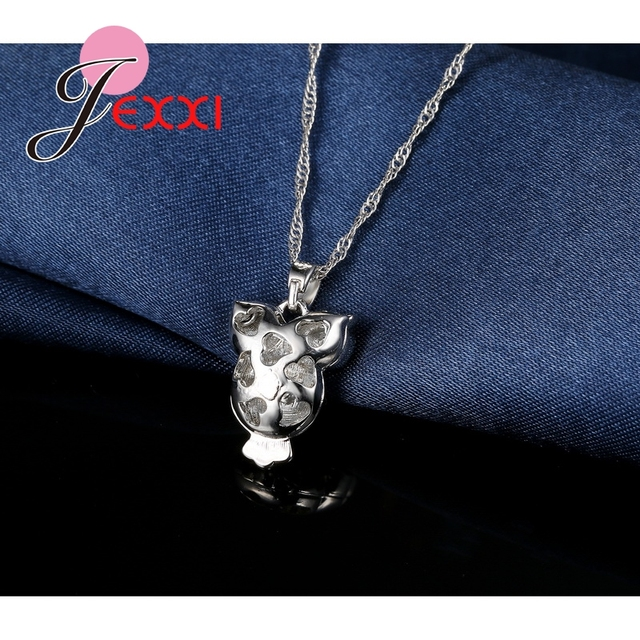 Party Trendy Owl Design Girls Jewelry Sets Colorized Crystal Necklace Earrings 925 Sterling Silver Women Pendant Set