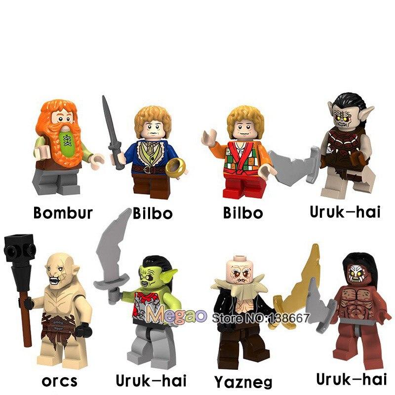 8pcs/lot The Super Heros Bilbo Baggins Figure Dwarf Uruk Hais Orc Azog Yazneg Bombur Building Block Model Bricks Kit Toys Gift Toys & Hobbies Model Building