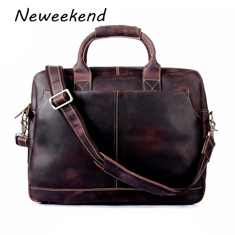 Vintage Crazy Horse Leather Men Bag Genuine Leather Handbag Shoulder 16inch Laptop Bag Men's Briefcase Tote Men Messenger 1019 vintage genuine leather men briefcase bag business men s laptop notebook high quality crazy horse leather handbag shoulder bags