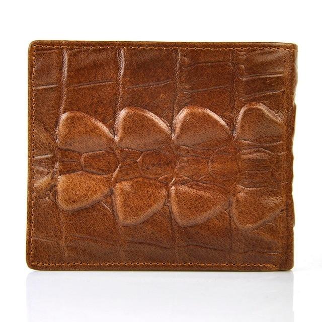 Men Vintage Genuine Real Leather Bifold Short Wallet Pocket Retro Credit Card Holder ID Photo Window Crocodile Alligator Classic