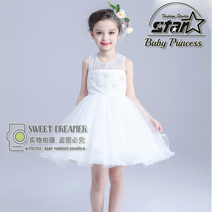 ФОТО Kids Girls Dress Embroidered Bow Pierced Temperament Korean Children Dress Fashion Birthday Party Clothing Layered Dresses
