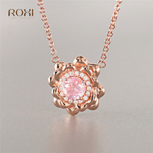 ROXI Cubic Zirconia Flower Pendant Necklace Rose Gold Color Long Chain Necklace Pink Crystal Necklace for Women Wedding Jewelry стоимость