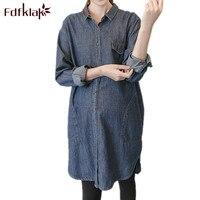 Fdfklak 2018 Spring Autumn Maternity Long Blouse Clothes For Pregnant Women Denim Long Sleeve Pregnancy Shirt Deep Blue F199