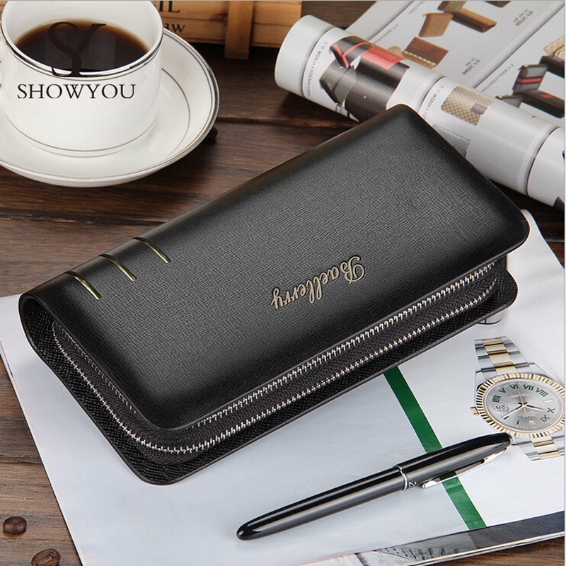 Famous Baellerry Brand Long Designer Luxury Male Wallet Business PU Leather Clutch Bag Fashion Purse Card Holder Coin Purses fashion baellerry men pu leather portable card holder organizer long wallet money coin purse male pocket pochette clutch bag