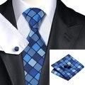 Sn-1149 темно-синий темно-синий плед галстук шуры запонки комплект мужская 100% шелковые галстуки для мужчин формальное свадьба ну вечеринку жених