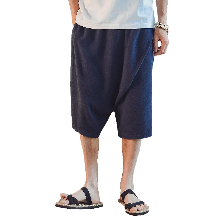 Trousers Men Bloomers-Pants Linen Elastic-Waist Black Male Casual Hip-Hop Calf-Length