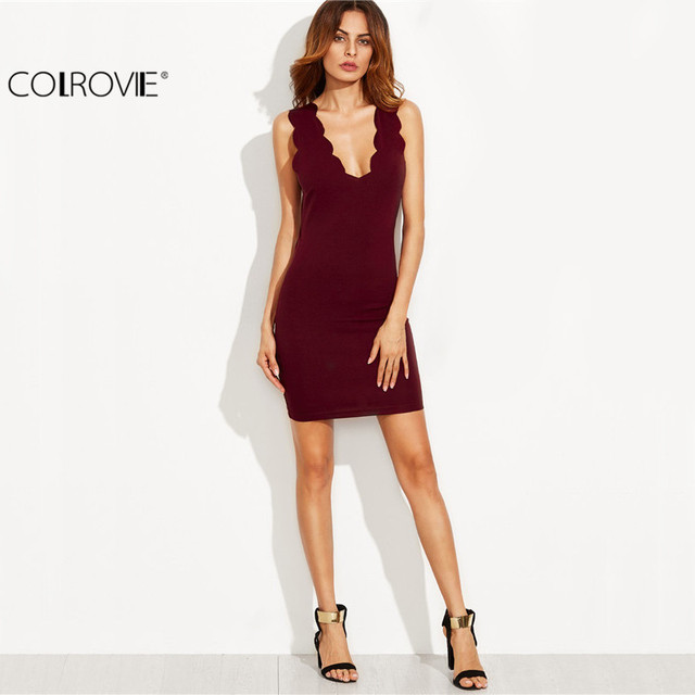 COLROVIE Burgundy Scallop Deep V Neck Sleeveless Sheath Mini Dress Sexy Ladies Plunge Bodycon Short Dress
