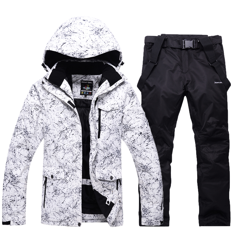 -30 Men/women's White Snow Suit Sets Outdoor Skiing Wear Snowboarding Clothing Waterproof Winter Ski Jackets + Snow Bibs Pants