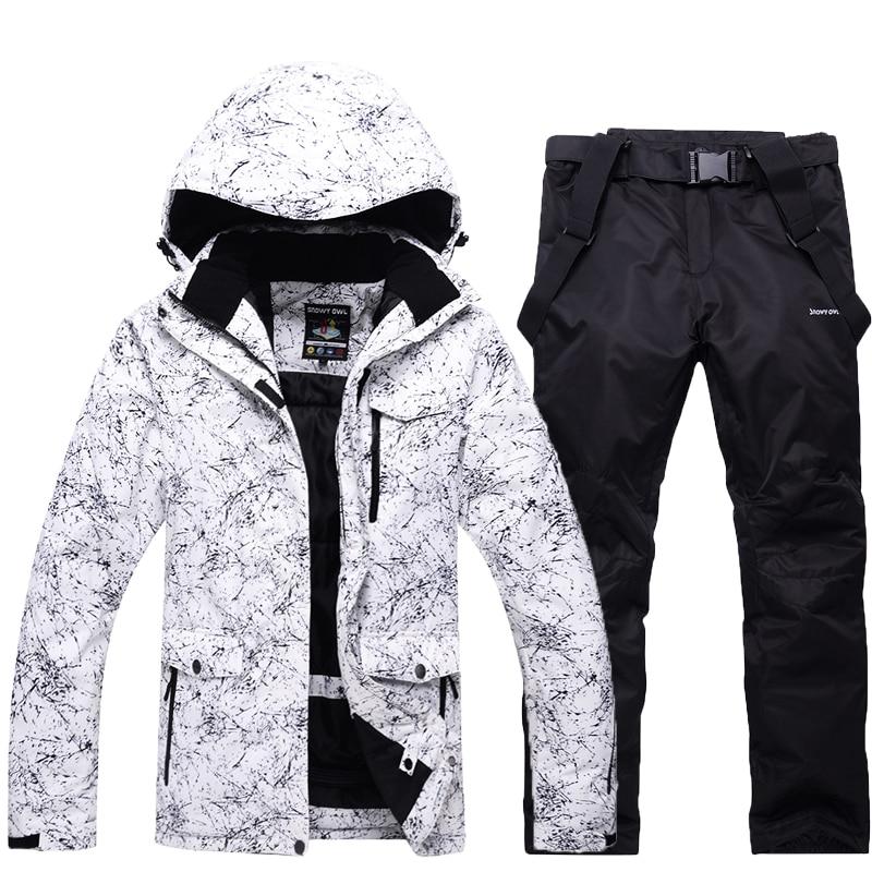 -30 hommes/femme habit De Neige blanche ensembles de ski en plein air costume ensembles snowboard vêtements d'hiver imperméables costumes vestes + bavoirs pantalon