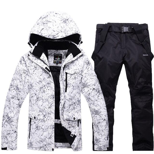 -30 мужчин/женщин белый снег костюм наборы открытый лыжный костюм наборы одежда для занятий сноубордингом непромокаемые зимние костюмы куртки + нагрудники Брюки