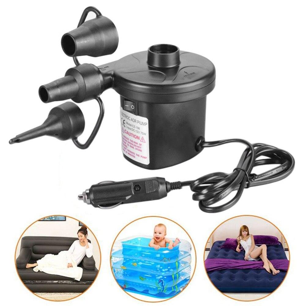 Multifunctional Portable DC12V Car Inflatable Pump Car Auto Electric Air Pump Inflator 3 Nozzles Air Bed Mattress Boat