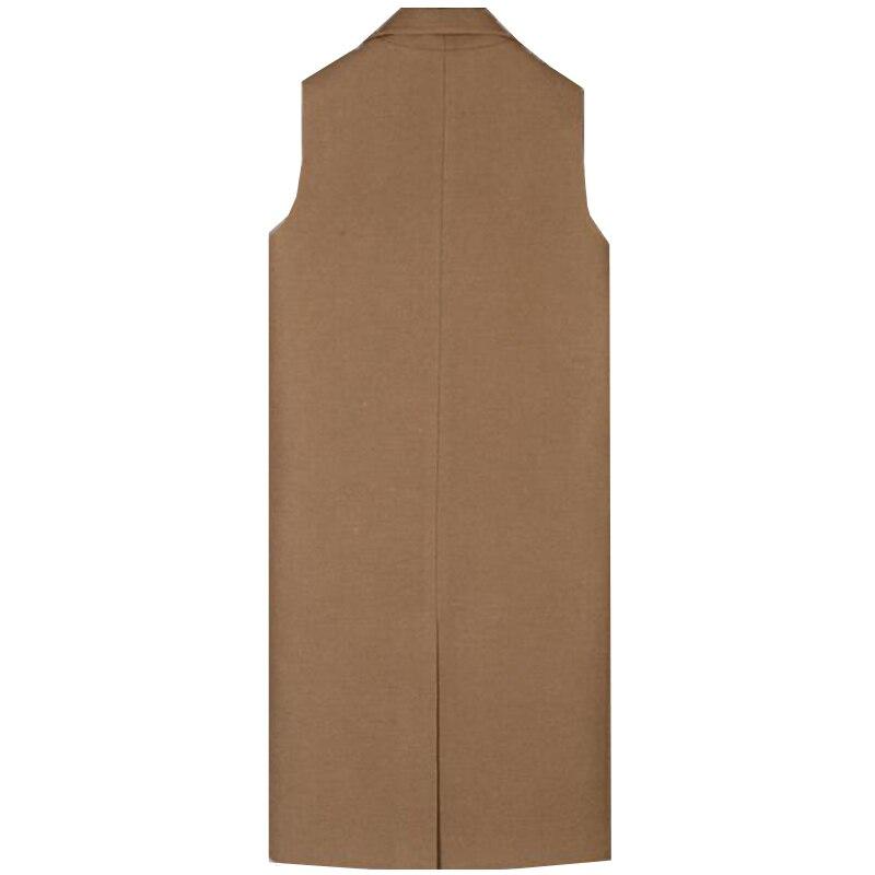 2017 Tailles Mode Automne Grandes Costume Noir Manteau Marque Veste Manches Mince Gilet Long De Laine Sf049 Nouvelle Femmes marron Printemps Sans Style Ol rnr5q6wxY