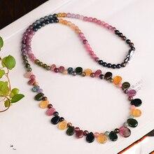 Gros JoursNeige Tourmaline collier en pierre naturelle avec goutte de pluie pendentif princesse collier pour femmes cadeau danniversaire bijoux