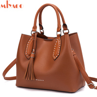Miyaco Designer Handbag Women Leather Bags Crossbody Bag Casual Tote Female Purse Brown Top Hand Bag with Tassel New