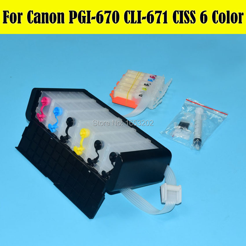 1 Set 6 Color Ciss For Canon PIXMA MG7760 Printer Ciss For PGI-670 CLI-671 Cartridge With Auto Reset Chip pgi750 cli751 ciss suit for canon ip7270 mg5470 mx927 mx727 printer empty ciss with permanent chip free shipping