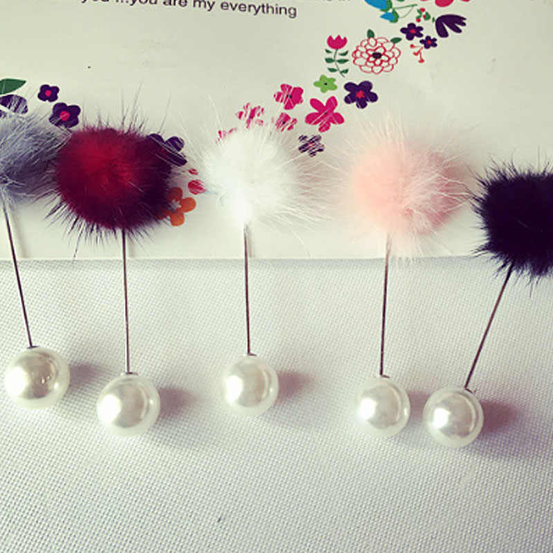 ファッション 1pc毛玉ブローチ模造真珠コサージュ 5 色エレガントなブローチチャームギフト冬の新到着