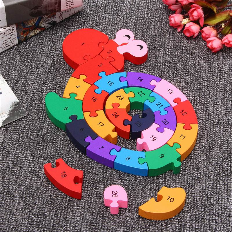 Wooden Snail Shape Puzzle Jigsaw IQ Alphabet Number Kid Educational Model Toys Intelligence Gift For Children Kids Adult ...