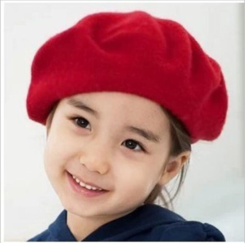 New Children Wool Berets Baby Kids Spring Autumn Winter Hats  Dome Cap Buds Hat Boys Girls Fashion Caps Free Drop Shipping the new children s cubs hat qiu dong with cartoon animals knitting wool cap and pile