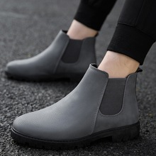 Fashion Men Chelsea Boots 2018 Classic Vintage Style Ankle Boots Men Slip on Black Gray Autumn Winter Plush Shoes for Male 39-44