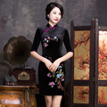 New Arrival Fashion Chinese Style Dress Women's Velour Long Cheongsam Elegant Slim Qipao Clothing Size S M L XL XXL F061810