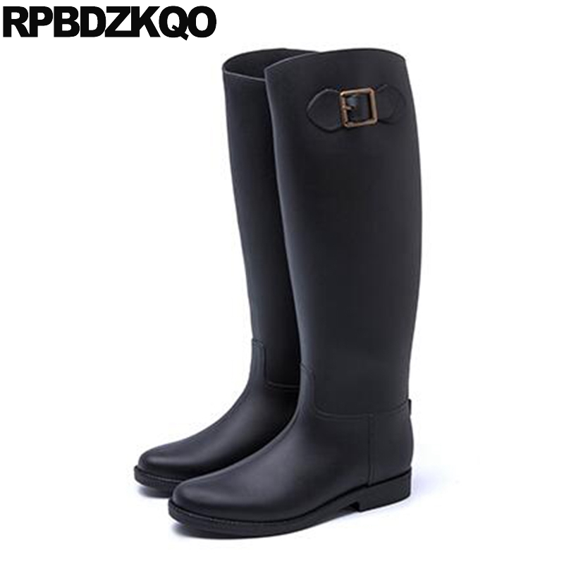 Waterproof Winter Boots Women Flat Knee High Brown Black Slip On Fur Long Shoes Rainboots Fall Rain Pvc Rubber Wide Calf Fashion yub brand waterproof rain boots for women with solid color slip on winter mid calf shoes for girls